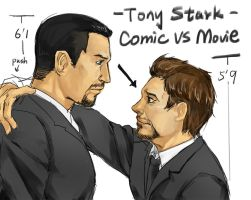 Comic Vs Movie tony stark by liuhagaren