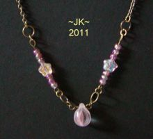 Pink Drop Necklace by VampirateMace
