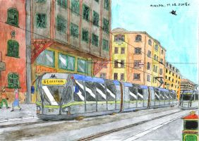 Rubbed-tyred tram by mikopol