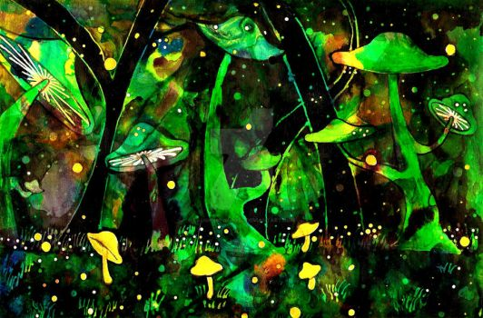 Down in the Shroom Forest by Laughing-In-Hell