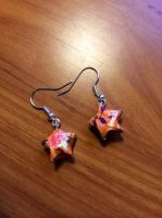 Orange star Origami earrings by yuyinfeng