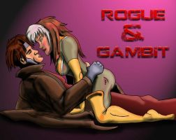 Rogue and Gambit  Colored by baggs