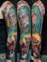boda dia de los muertos heart catrina step3 by 2Face-Tattoo
