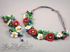 jewelry set with wildflowers by polyflowers