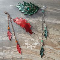 Luxury Leather Oak Leaf Barrettes by Beadmask