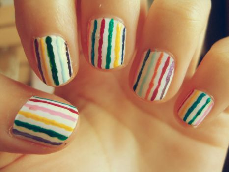Colourful stripy nails by luminousleopard