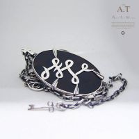 Personalized necklace made from silver, black onyx by tivodar66