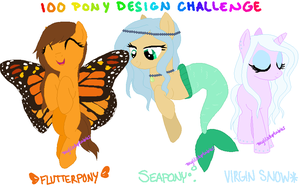 MLP- 100 Pony Design Challenge #19, 20, 22 -CLOSED by MyLilAdoptables