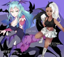 Morrigan and Neggy by jeren07