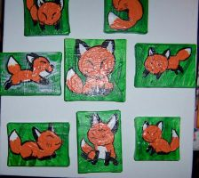 fox tiny canvas paintings by JillyFoo