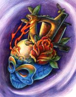 Blue Calaveras Tattoo project by Sandersk
