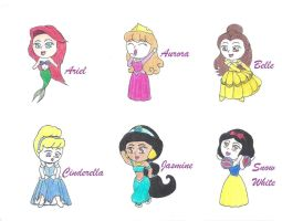 Disney Princess Chibis by CrystalNekoNee-Chan