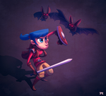 Warrior Girl vs. Bats by ItsJustin