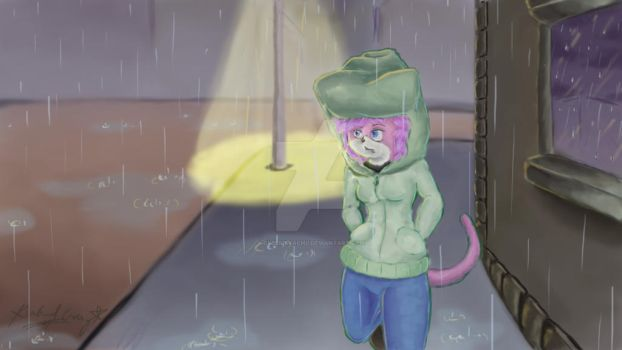 Aeris - Walking in the Rain by CyberPikachu