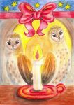 Barn Owls in Candlelight by LoVeras