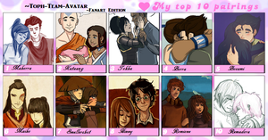 Top ten fave couples(Fanart) by Toph-Team-Avatar
