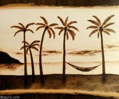 Relaxing on the beach -- Wood burning - Remake by brandojones