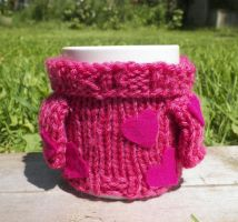 Mabel Sweater Mug Cosy - Pink Hearts by TheSweaterProject