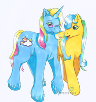 Pony Couple- Whistle and Medow by Timatae