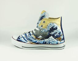 The Great Wave Off Kanagawa Custom Converse Ch by Annatarhouse