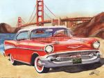 1957 Chevy Bel Air In San Francisco (Painting) by FastLaneIllustration
