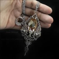 Wire-wrapped, large Swarovski necklace by AnnaMroczek