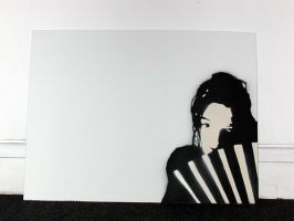 GIRL WITH FAN STENCIL by exell