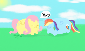 Pudgy Ponies - Fluttershy and Raindow - 3 by InvaderBlitzwing