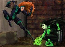 Kim the Thief and Shego the Hero : Alley by wickedlilme