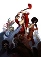 Santa and Friends vs Zombies by alexstoneart