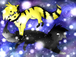 Stardust Cats .:Point Commission:. by RedGelOh
