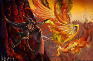 Pokemon -Moltres Vs Aerodactyl by SimonGangl
