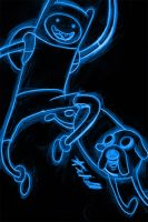 adventure time close up neon by AlanSchell