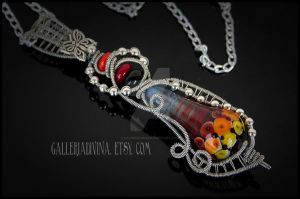 Shades of Fire - Wire wrapped pendant by Faeriedivine