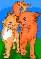 Sandstorm and Firestar by HawktalonofWindClan