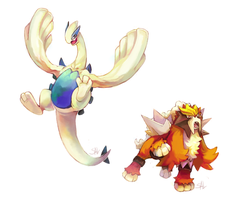 AT: Lugia n Entei by salanchu