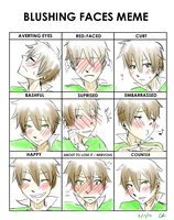 Blushing Faces Meme by TripOverFlatSurfaces