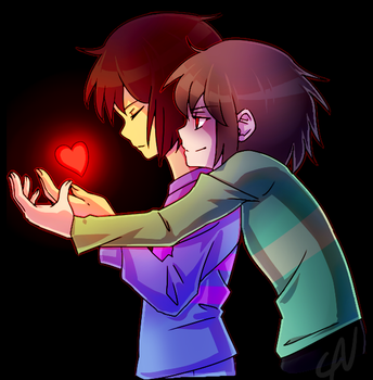 frisk and chara by caneggy
