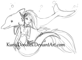 Mer and a Dolphin by Kuro-Doodles