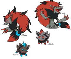 Zoroark and Zorua by xCanidae