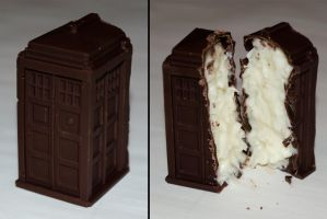 coconut-filled dark chocolate TARDIS by TheKnightAngel