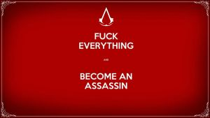 Keep calm, become an assassin. Wallpaper HQ Wide by LadySapphires