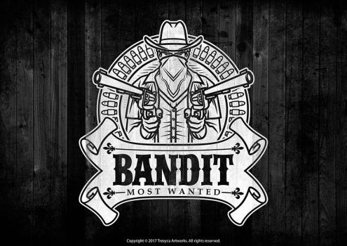 Bandit Mascot Logo (Black and White) by TrexycaArtworks