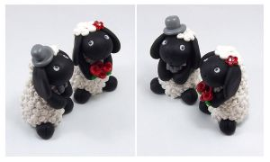 Black Sheep Wedding Cake Topper by HeartshapedCreations