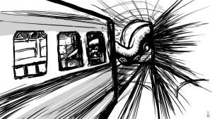 04 15 2012 Daily Draw Sea Monster X Subway by LineDetail
