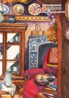 watercolor : Naptime by Archie-The-RedCat