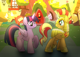 Princess Twilight and Sunset Shimmer by drawponies