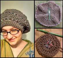 Puffy Striped Slouch Hat by PhantastiquePhoenix