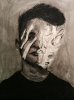 Distorted Portrait Charcoal Study by Lankss