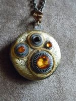Honey Steampunk Clock Gears Brass Locket Necklace by A-Sharper-Spectrum